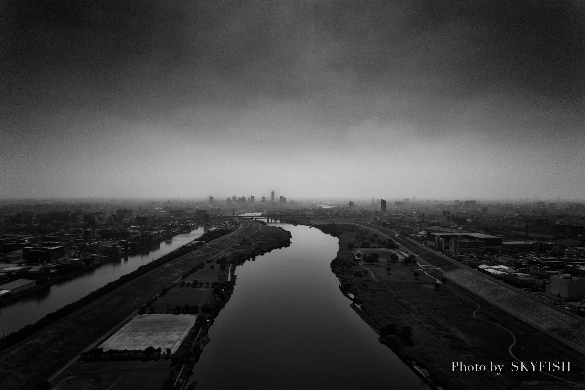 ドローンで撮影した都市景観