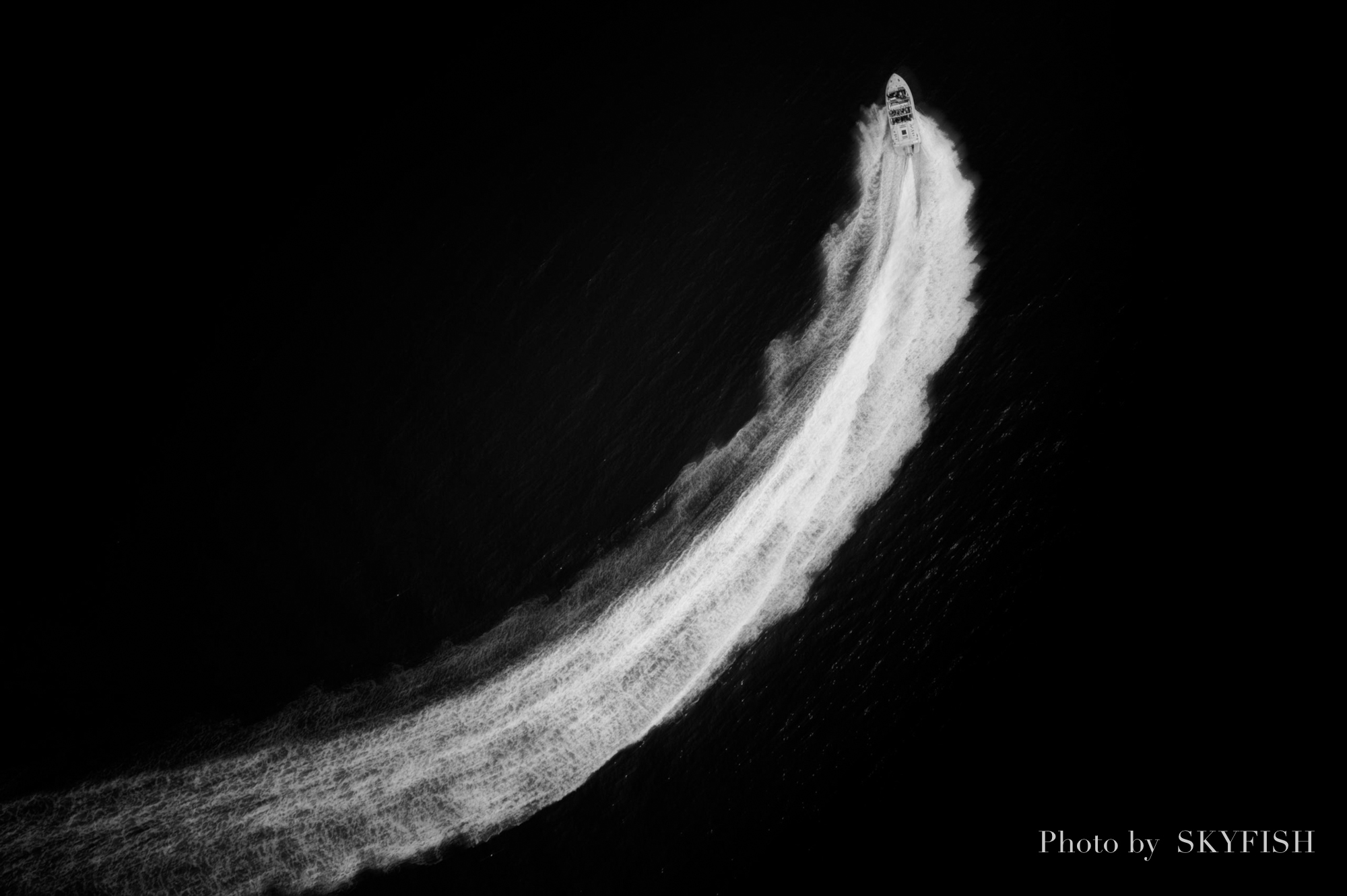 ドローンで撮影したボート