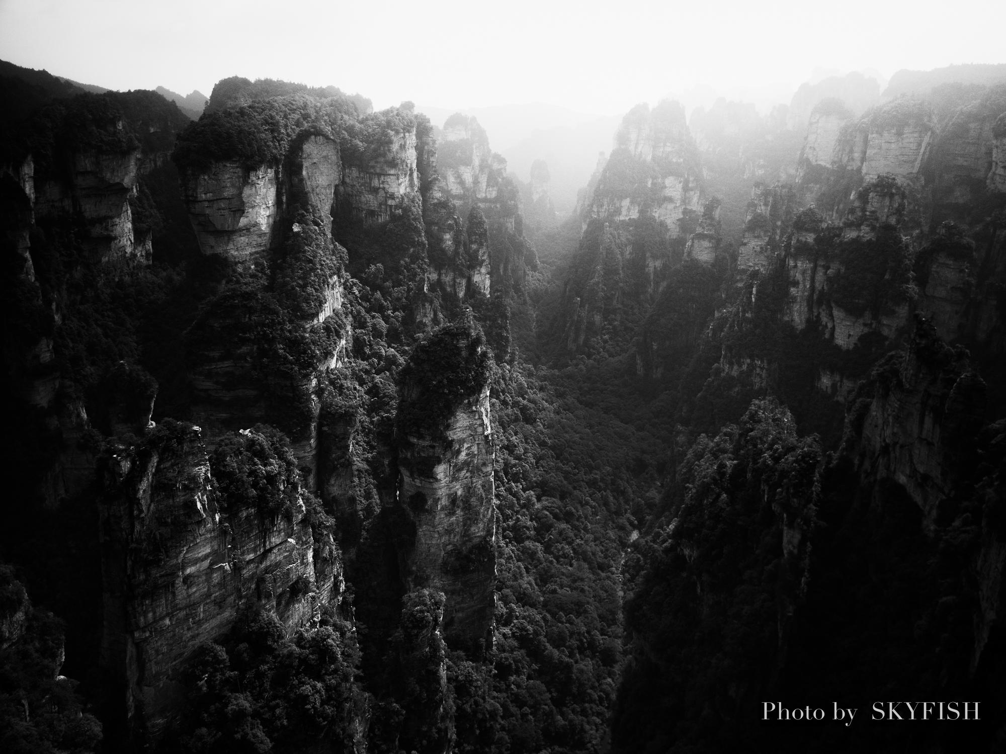 ドローンで撮影した武陵源